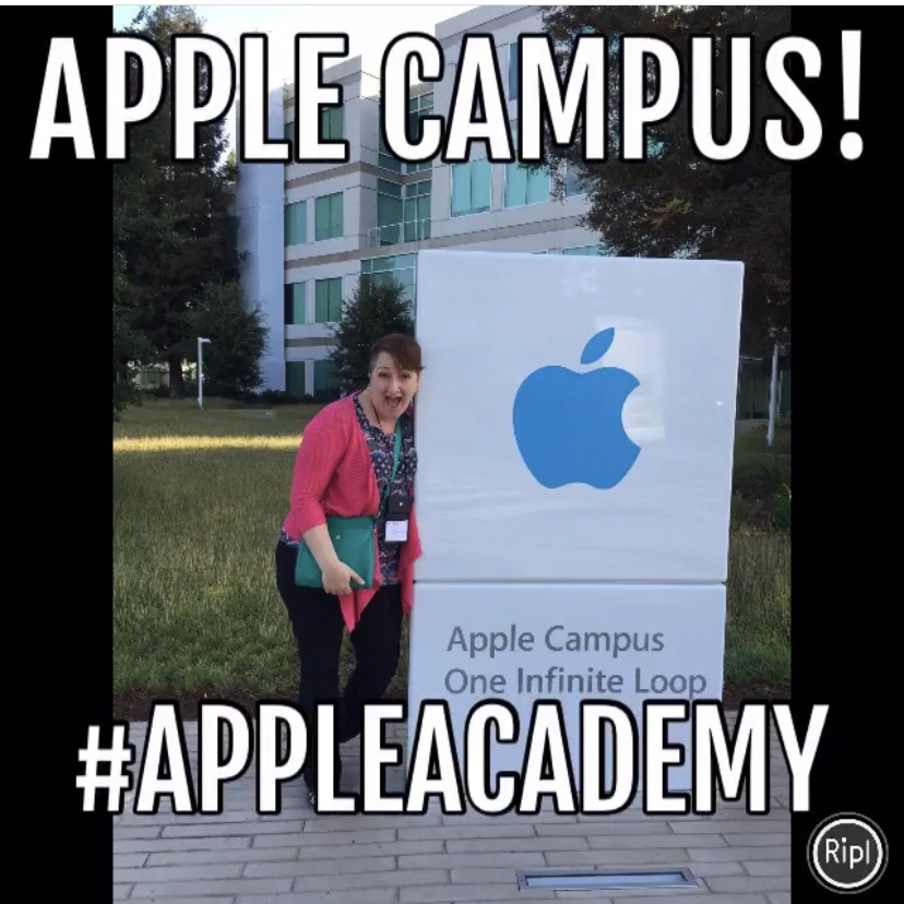 """Image of Lisa Bohn at Apple headquarters in Cupertino, CA. Text says, """"Apple Campus!"""" and """"#AppleAcademy"""""""